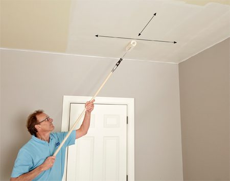 Quickly move from one section to the next as you paint the ceiling.