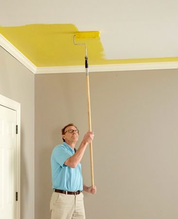 Painting a ceiling with color can improve the look and feel of the room.