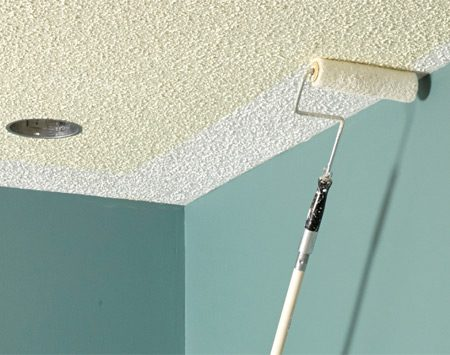 Use special care when you paint a textured ceiling.