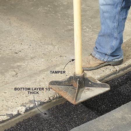 <b>Photo 2: Put in the bottom layer</b></br> <p>Pour in a small amount of cold patch material and level it with a square-blade shovel. Tamp down a test section and measure the depth. The bottom layer should only be 1/2 in. thick when compacted. Add or remove cold patch material and then tamp down the entire starter row.</p>