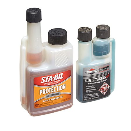 <b>Add stabilizer every time you fill</b></br> <p>Many people add gasoline stabilizer only when they put the mower away for the winter. That's a good idea, but that's not the only time you should use stabilizer. Stabilizer works best when it's added to fresh gas right at the pump. That way it can start working immediately to prevent trouble. And, since small-engine gas tanks are vented, adding pre-stabilized gas to the tank can reduce the effects of water accumulation and slow the loss of volatile vapors. Look for a stabilizer product that includes antioxidant protection, corrosion inhibitors, detergent and metal deactivators (Briggs & Stratton Advanced Formula Fuel Treatment & Stabilizer and STA-BIL are two examples.) If you have a two-stroke engine, buy oil with built-in stabilizer.</p>
