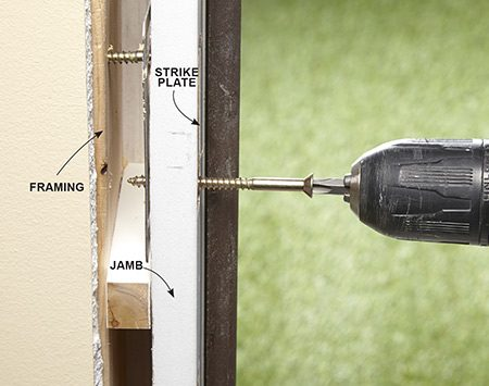 <b>Strengthen the doorjamb</b></br> <p>Remove the puny 3/4-in. screws from the strike plate. Drill pilot holes into the framing behind the jamb. Then drive in 3-in. screws to anchor the strike plate to the framing.</p>