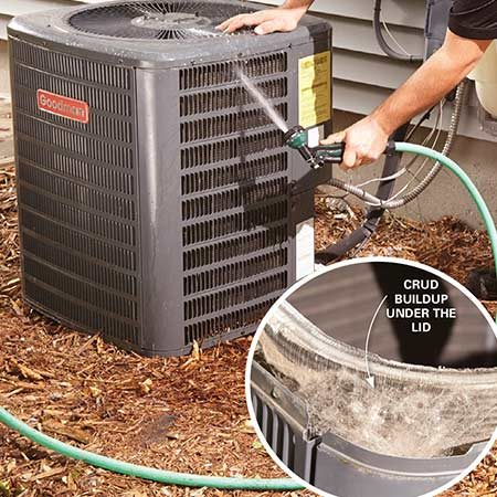 <b>Photo 2: Clean the condenser coils</b><br/><p>Aim your garden nozzle upward into the top of the condenser coil to remove the crud buildup under the lid. Work all the way around the coil. Then aim the nozzle down and flush the debris down the coil fins. Adjust the nozzle to a gentler stream and shoot water directly into the coils to flush out any remaining debris.</p>