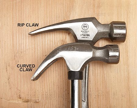 <b>Rip vs. curved claw</b></br> <p>Often you'll find the same hammer with either a rip claw or a curved claw. Some people believe that a curved claw makes pulling nails easier. We don't see it. We prefer a rip claw for general use.</p>