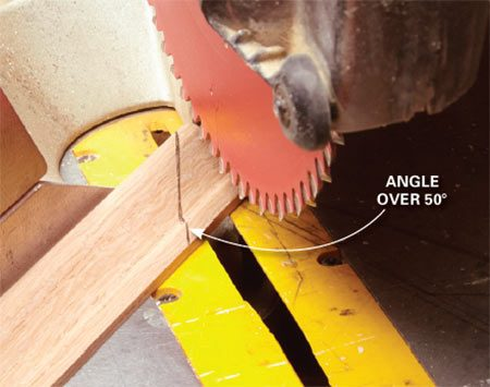 <b>Problem: Miter saws don't cut steep angles</b></br> This miter saw won't cut the 60-degree angle we need.