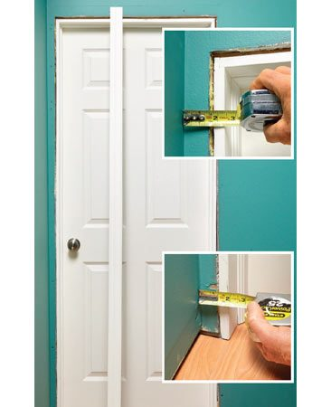 <b>Problem: The trim won't fit</b></br> This casing is wider than the space between the door and the wall, so the casing needs to be cut. That cut will need to fit tightly against an uneven wall.