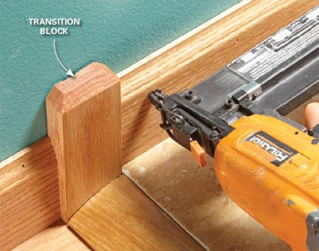 <b>Solution: Cut a decorative block</b></br> Cut a block of wood that's a little thicker than the baseboard. Then finish the top with a bevel or a routed profile.