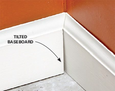 <b>Problem: Tilting base creates a gap</b></br>  The tapered drywall edge allows the baseboard to tilt—and that means a gap in the corner.