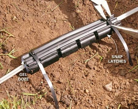 Close the plastic shield around the underground wiring you are fixing.