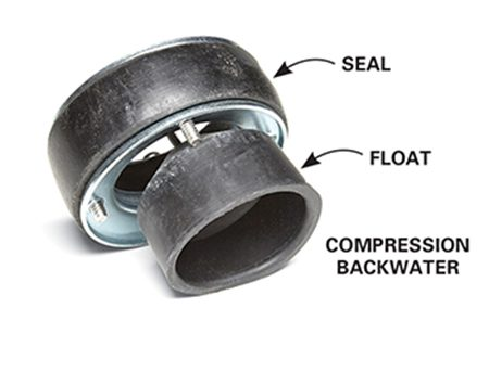 <b>Compression backwater valve</b></br> <p>Use a compression backwater valve with a cast iron floor drain to prevent backups.</p>