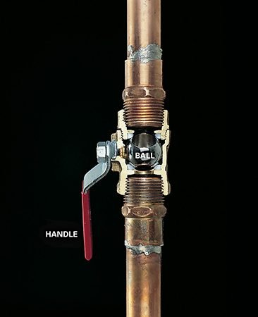 <b>Ball valve</b></br> <p>The stainless steel ball almost always rotates smoothly to shut off the water. But just to be sure, give the handle a quarter turn. Then turn on a faucet to see if the water is off.</p>