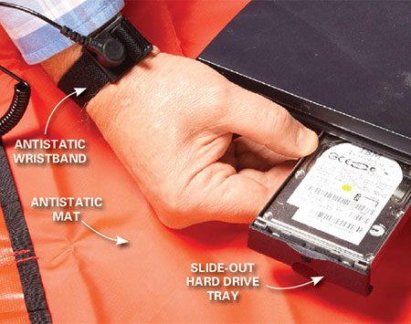 <b>Photo 2: Remove the old drive</b></br> <p>Attach your antistatic wristband  and clip the end to a ground point. Remove the screw from the drive door. Then  slide the door down and pull the drive straight out. </p>