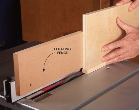 """<b>Add a floating fence</b></br> <p>If you've ever covered plywood edges with solid wood, you know how hard it is to position the edging flush with the plywood surface. Next time, try this: Start with edging that's about 1/8 in. wider than the thickness of the plywood. That way, you can attach the edging fast, without worrying about a flush fit. To trim off the excess edging, clamp or screw a tall """"floating fence"""" to your table saw fence. Then position the floating fence so it's flush with the outer edge of the blade.</p>"""
