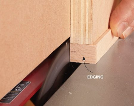 <b>Rip clean edges</b></br> <p>Finding the perfect position requires a couple of test runs. But when you get it right, you'll be able to trim the edging in seconds. And if you use a good-quality smooth-cutting blade, you can remove the saw marks with only light sanding.</p>
