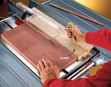 """<b>Custom rip guide</b></br> <p> Cutting thin strips can be dangerous. There's no space between the blade and the fence for a push stick, and on some table saws you have to remove the blade guard. Five minutes and a 6-in.-wide scrap of plywood or particleboard are all you need to cut safely and quickly. Just screw a wooden """"heel"""" to the scrap and you've got a sliding guide that lets you leave the guard in place and keeps your fingers safe. Add a handle to make it easier to pull the guide backward after each cut.</p>"""
