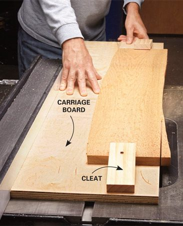 <b>Carriage board</b></br> <p>To cut a straight edge on any board, all you have to do is mount the crooked board to a larger carriage board and run the whole assembly across your table saw. You can fasten the crooked board with screws or—if you don't want to put screw holes in the board—hold it firmly in place with 4-in.-long screwed-down cleats at both ends. Set your saw's fence to match the width of the carriage board. That way, you can tell exactly where the blade will cut the crooked board.</p>