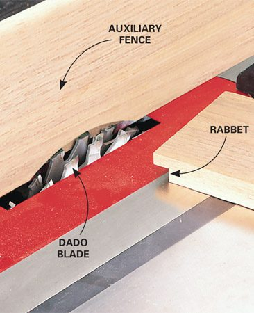 """<b>Precision rabbet guide</b></br> <p>A dado blade in a table saw is the fastest way to cut notches, or """"rabbets,"""" along the edge of a board. And here's a way to make the process even faster: Set the blade to cut slightly wider than the rabbet width. Then clamp or screw an auxiliary fence to the saw's fence. Now—instead of fussing with dado adjustments—you can precisely adjust the width of the rabbet by moving the fence and allowing the dado blade to cut into the auxiliary fence.</p>"""
