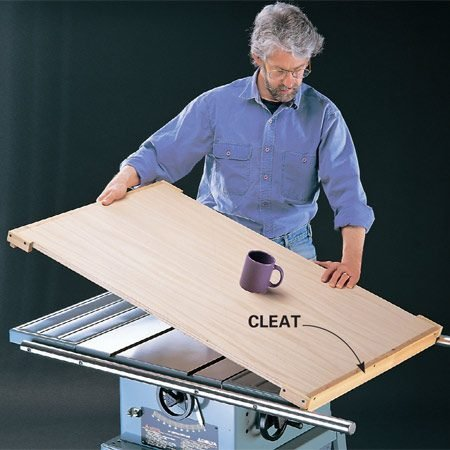 <b>Extra workbench</b></br> <p>Admit it: You sometimes use your table saw as an auxiliary workbench, slopping it up or damaging it. Better to build a plywood cover to protect it from glue, paint and tools. Cleats at the edges prevent the cover from sliding off the saw. Makes a great coffee table too!</p>