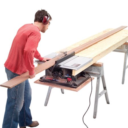 <b>Safer rip cuts</b></br> <p>With a few minutes, a couple of 2x4s, a slab of plywood and a pair of sawhorses, you can build a stand for a benchtop saw, plus a long outfeed table.</p>