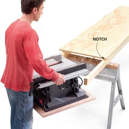 <b>Align the outfeed</b></br> <p>On the version shown here, the 2x4s are notched so that the saw table is flush with the plywood. Screw the plywood to the 2x4s and the 2x4s to the horses. Also screw or clamp the saw to the 2x4s.</p>