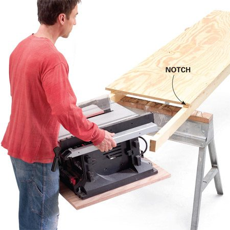 Attach the table saw to the 2x4 supports, then screw the 2x4s to the sawhorses.