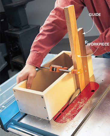 <b>Tenon jig</b></br> <p>Upright cuts—for lap joints, tenons or rabbets—aren't a good job for a table saw. That is, unless you build a simple box to guide and support the workpiece. Precise cuts depend on a precise box, so take the time to build it square and sturdy. And as always, make your adjustments and mistakes using scraps before cutting precious wood.</p>