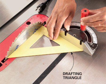 A good tip when cross-cutting on your table saw is to check the gauge with a drafting triangle.
