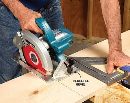 <b>Photo 1: Cut the leg blanks</b><br/><p>Set the saw to cut a 10-degree bevel. Mark the 1x12 and align the saw with the mark. Then use a large square to help guide the cut.</p>