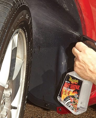<b>Accent the wheels</b><br/><p>Spray the tires and the wheel wells with tire dressing to give them a dark, factory-fresh look. If you skip the wheel wells, their gray look will detract from the dark tires and shiny paint.</p>