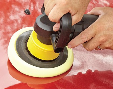 <b>Polish until shiny</b><br/><p>Run the polisher until the haze disappears and the paint glistens. Then wipe off the excess polish with a clean, dry microfiber towel.</p>
