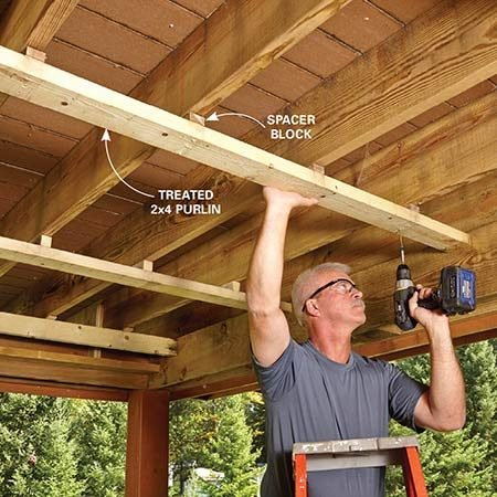 <b>Photo 1: Hang the purlins</b></br> <p>Rune screwed the 2x4 purlins to spacer blocks. The blocks are incrementally thicker as they approach the outside edge of the deck so the new roof will drain toward the outside.</p>