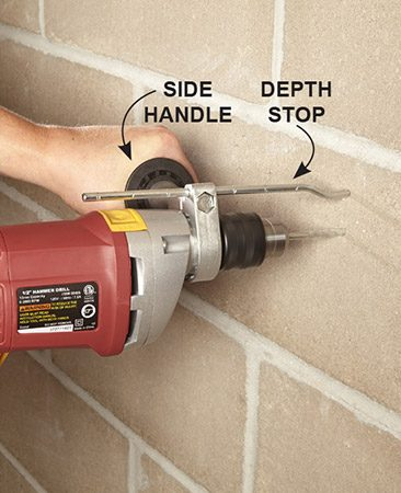 <b>Avoid overdrilling</b></br> <p>Most hammer drills and rotary hammers are sold with a side handle and depth stop. Do yourself a favor and use them. There's no reason to burn up both time and bits by drilling deeper holes than you need to. And you don't always want to drill all the way through a concrete block to its hollow core—some plastic anchors need a back to stop them or they will get pushed right through the hole.</p>