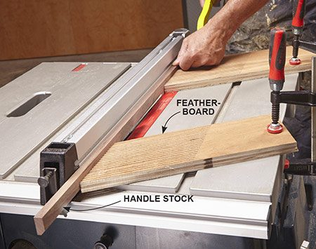 <b>Photo 8: Bevel the handle stock</b></br> <p>Set the table saw blade to 45 degrees and mount featherboards on the table to hold the stock tight against the fence. As you reach the end of the cut, drive the stock with a push stick to keep your fingers away from the blade.</p>