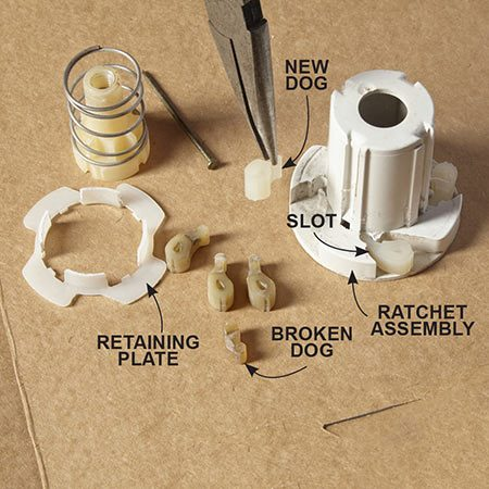 <b>Photo 3: Replace the dogs</b></br> <p>Drop four new dogs into the round slots. Then snap on the retaining plate.</p>