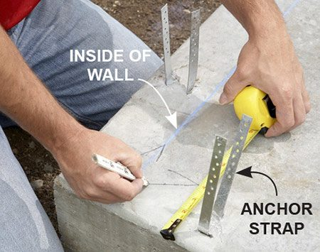 <b>Locating the lines</b></br> <p>Measure in 4 in. so the sheathing will sit flush with the slab.</p>