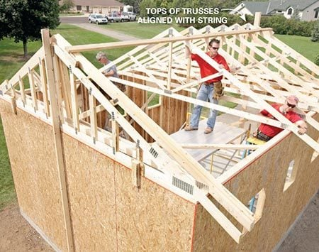 <b>Photo 13: Set the rest</b></br> <p>Setting trusses works best with one person in the center and one on each end. Nail a truss to the ribbon board, and then toenail it to the top plate. Renting a rolling scaffold really speeds things up and makes the whole operation much safer.</p>