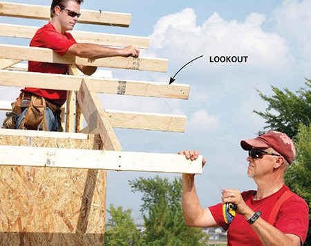 <b>Photo 15: Snap a line for the gable overhang</b></br> <p>The lookouts sit on the dropped-top chord gable-end trusses and get nailed to the nearest common truss. For a perfectly straight overhang, run the lookouts long, snap a line and trim them to size.</p>