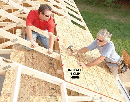 <b>Install the roof decking</b></br> <p>The tops of trusses aren't always straight, so mark a line on the top edge of the decking every 2 ft. to indicate the center of each truss. Then push or pull the trusses to align them with the marks before nailing the top of each row of plywood.</p>