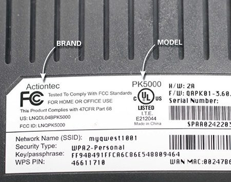 "<b>Photo 1: Find the make and model</b></br> <p>Find the FCC label on your router. Note the make and model. Then go to the ""support tab"" on the manufacturer's website and download the owner's manual.</p>"