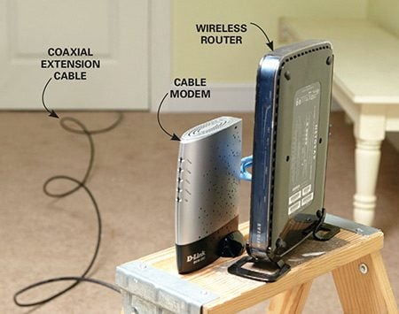 <b>Photo 3: Temporarily relocate the router</b></br> <p>Disconnect the modem/router from its present location and run a longer cable to a central location in your home. Then connect the modem and router to the temporary cable and recheck signal strength in all rooms.</p>