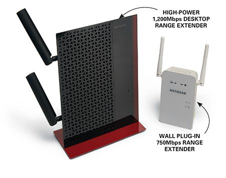 <b>Photo 5: If needed, add a range extender</b></br> <p>Install either a desktop or a wall plug-in range extender halfway between the Wi-Fi router and the weak/dead area. Access the extender with your laptop and program it with your router password.</p>