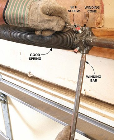 <b>Use the winding bar</b></br> <p>Shove a winding bar into a bottom hole of the winding cone of the good spring. Hold the bar in place while you loosen the two setscrews. Hang on tight; the spring will push with powerful torque as the screws release.</p>