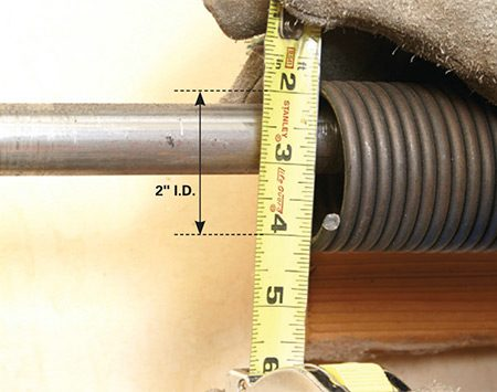 <b>Measure the inner diameter and length</b></br> <p>Measure the inner diameter of the broken spring as shown. Loosen the setscrews on the broken spring and slide the broken portion over to meet the stationary section. Measure the overall length of the springs (not including the cones).</p>