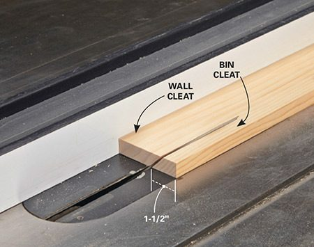 <b>Photo 3: Cut the cleats</b></br> <p>Tilt the blade to 45 degrees and set the fence so that the bin cleat is 1-1/2 in. wide. Getting the fence positioned may take some trial and error, so cut a test scrap first. Our guard was removed for photo clarity. Use yours!</p>