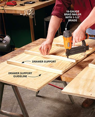 <b>Photo 1: Mount the drawer supports</b></br> <p>Attach the drawer supports to the side panels before assembling the cabinet. Glue each support and tack it down with brads. Then flip the panel over and drive 1-1/2-in. screws into the supports.</p>