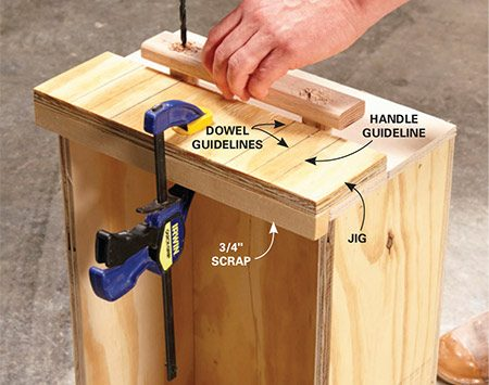 <b>Photo 7: Add the handles</b></br> <p>Build a simple jig and clamp it onto the drawer front. Hold the handle in place and drill holes for the carriage bolts.</p>