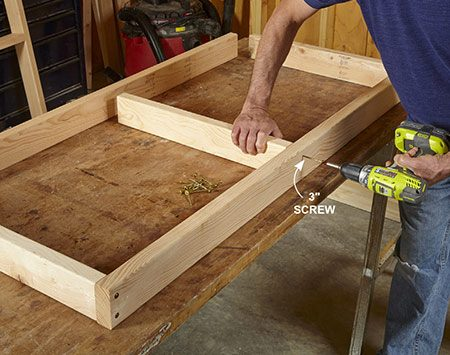 <b>Photo 1: Build the frames</b></br> <p>Use 3-in. screws to assemble the frames that support the top and the shelf. To avoid splitting the 2x4s, either drill pilot holes or use self-drilling screws. Build both frames and set the top frame aside.</p>