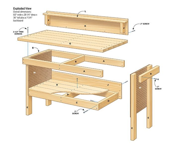 Build Diy Workbench And Wall Mount Garage Workstasion