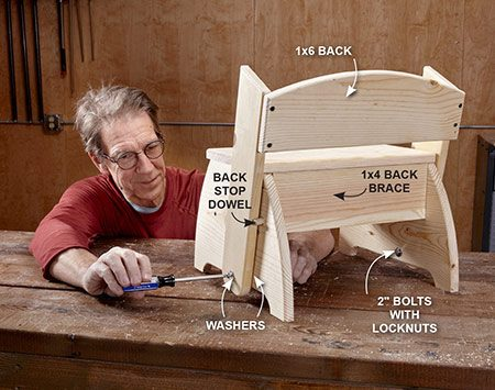 """<b>Photo 3</b></br> Screw the back to the pivot arms to create a U-shape. Drill the holes in the pivot arms, then secure the back using 2-in. bolts, washers and nuts. Don't permanently fasten the top until you've """"test swiveled"""" the back to make sure you have enough clearance."""