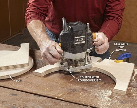 <b>Use the jigsaw and router</b></br> Use a jigsaw to cut out the parts (see <b>Figure A</b>), then use a router with a 1/4-in. round-over bit to ease the edges as shown.